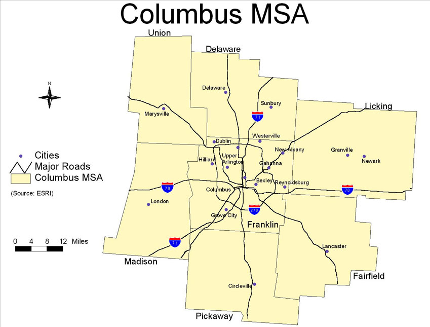 Geography Maps - Central ohio map